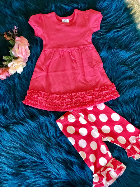 2018 Spring Hot Pink & White Polka Dot Cotton Capri Ruffle Pants - JEN'S KIDS BOUTIQUE