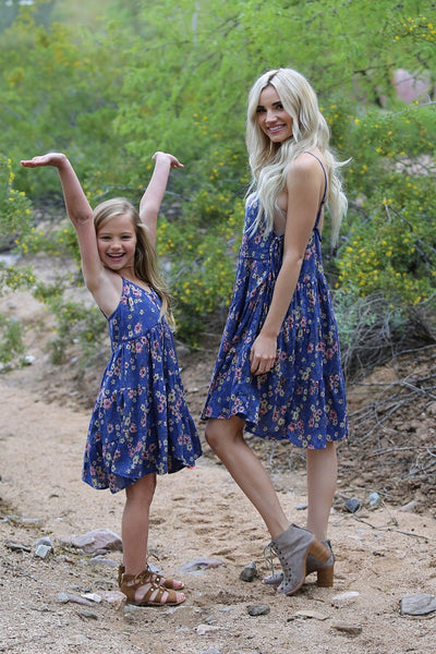 2018 Spring Adorable Kids Royal Blue Flower Dress Mommy & Me Matching Dress - JEN'S KIDS BOUTIQUE