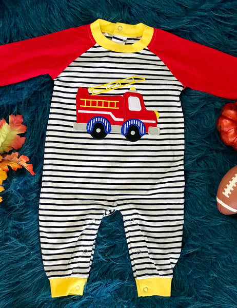 Fall Be Mine Boys Blue Stripped Applique Fire Truck Romper - JEN'S KIDS BOUTIQUE