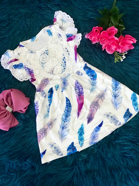 2019 Spring & Summer White & Multi Feather Dress With Lace - JEN'S KIDS BOUTIQUE