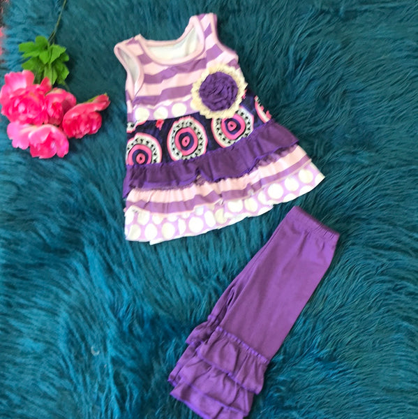 Summer Purple Tank & Ruffle Legging Set