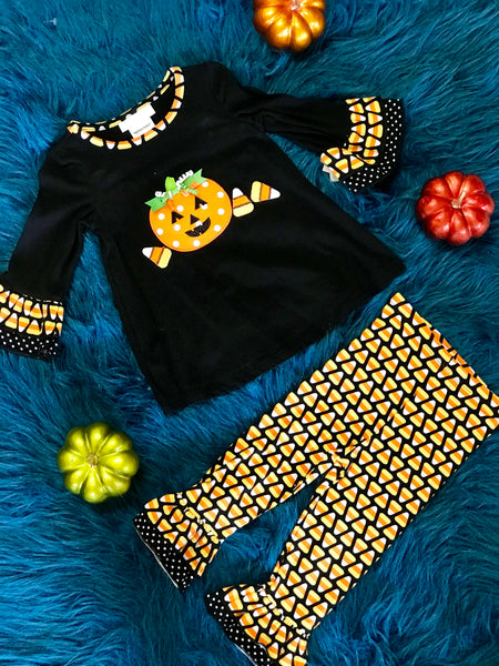 Halloween Black And Orange Candy Corn Pumpkin Pant Set - JEN'S KIDS BOUTIQUE