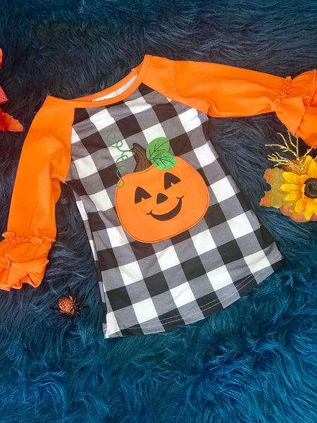 New Fall Halloween Checkered Pumpkin Shirt - JEN'S KIDS BOUTIQUE
