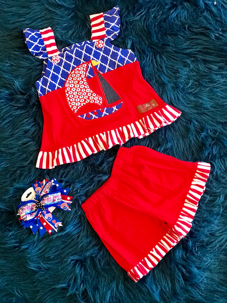 Millie Jay Summer Fun Red/White/Blue Sail Boat Shorts Set - JEN'S KIDS BOUTIQUE