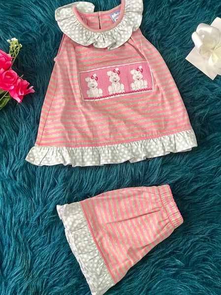 Three Sisters Spring Puppy Love Smocked Shortset - JEN'S KIDS BOUTIQUE