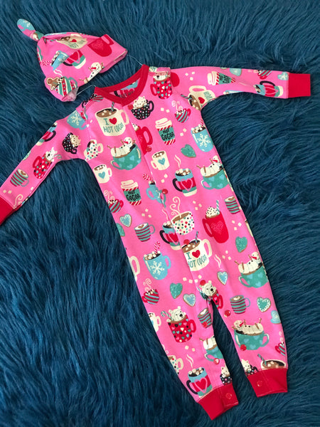 Christmas Little Blue House Pink I Love Hot Cocoa One Piece Pjs With Hat C - JEN'S KIDS BOUTIQUE