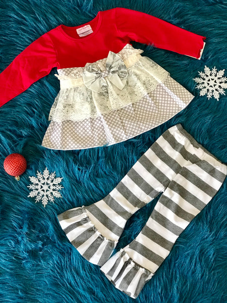 She Bloom Red & Silver Pant Set - JEN'S KIDS BOUTIQUE