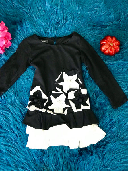 Isobella & Chloe Beautiful Black & White Graphic Stars Dress - JEN'S KIDS BOUTIQUE