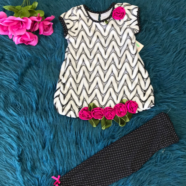 Spring Bonnie Baby Black & White Chevron w/ Purple Flower Legging Set ECL - JEN'S KIDS BOUTIQUE
