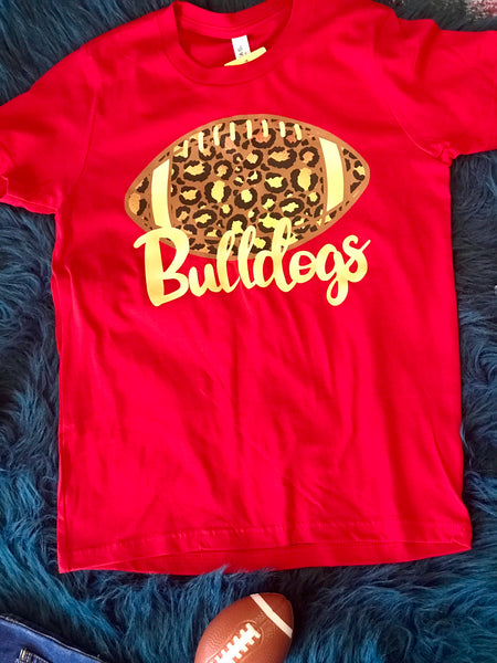 2018 Fall Bulldogs Football Red Cheetah Youth Shirt - JEN'S KIDS BOUTIQUE