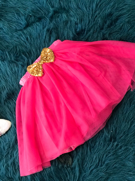 Hot Pink Long TuTu w/ Gold Bow on Back - JEN'S KIDS BOUTIQUE