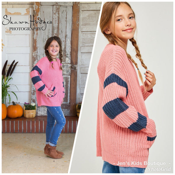 Fall Kids Stripe Sleeve Cable Knit Sweater - JEN'S KIDS BOUTIQUE