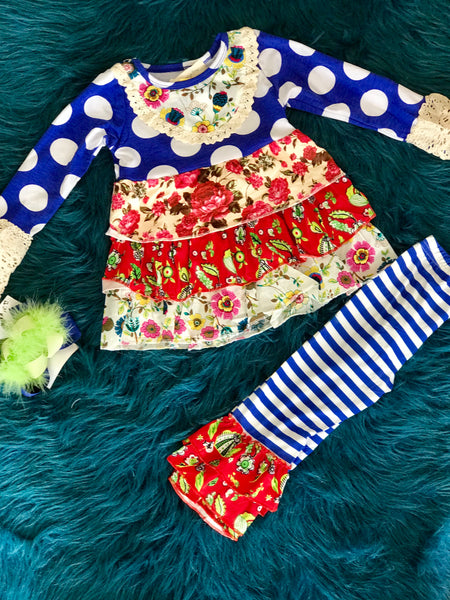 2018 Honey Dew Blue Floral Ruffle Pant Set - JEN'S KIDS BOUTIQUE