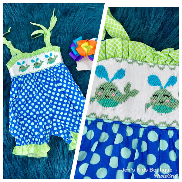 2019 Spring & Summer Mom & Me Adorable Blue/Lime Whale  Infant Romper - JEN'S KIDS BOUTIQUE