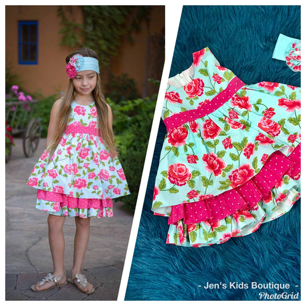 2019 Spring Serendipity Island Floral Party Dress - JEN'S KIDS BOUTIQUE