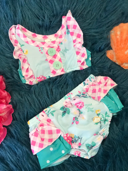 Summer Mixed Roses Two Piece Swimsuit - JEN'S KIDS BOUTIQUE