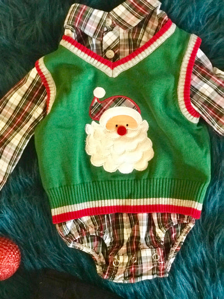 New Christmas Boys Green Santa Sweater Pant Set C - JEN'S KIDS BOUTIQUE