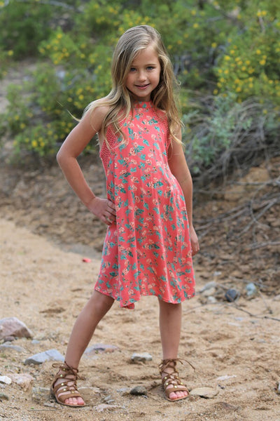 Spring Adorable Kids Coral High Neck Flower Dress Mommy & Me Matching Dress - JEN'S KIDS BOUTIQUE