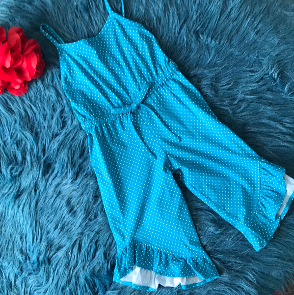 Spring Millie Jay Chloe Blue Dot Long Romper - JEN'S KIDS BOUTIQUE