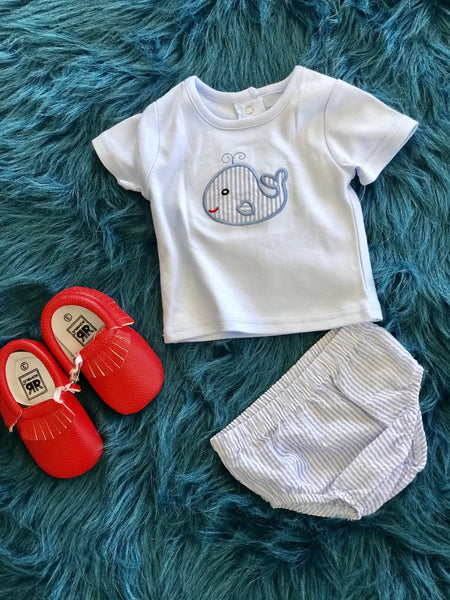 2018 Spring Three Sisters Whale Applique Infant Boys Diaper Set - JEN'S KIDS BOUTIQUE