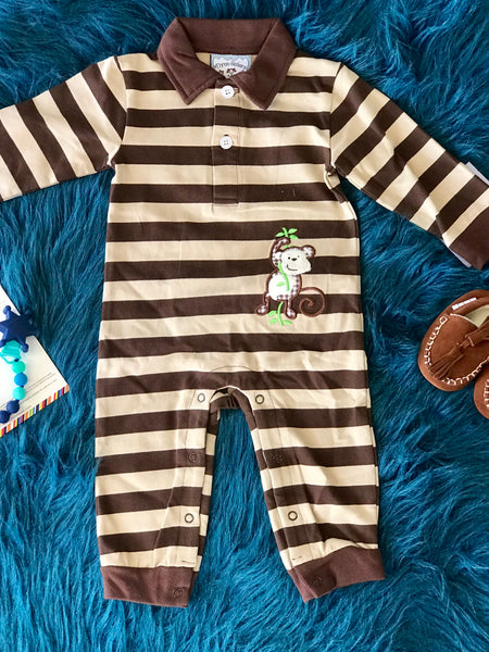 Fall Boys Monkeying Around Applique Romper - JEN'S KIDS BOUTIQUE
