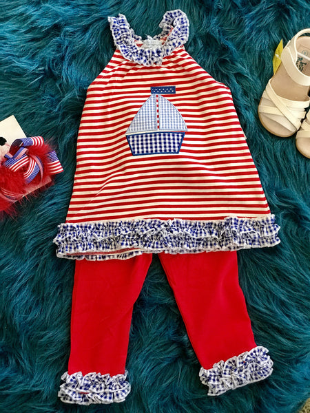2018 Spring Three Sisters Sailboat Applique Legging Set - JEN'S KIDS BOUTIQUE