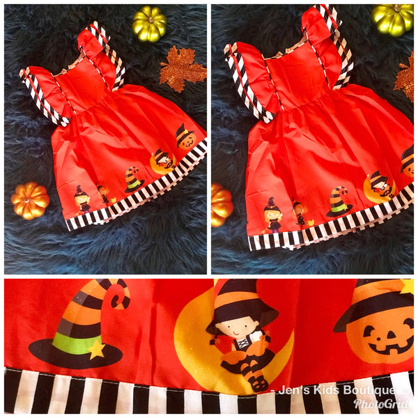 Perfect Halloween Orange Princess Mary Kate Sleeveless Dress - JEN'S KIDS BOUTIQUE