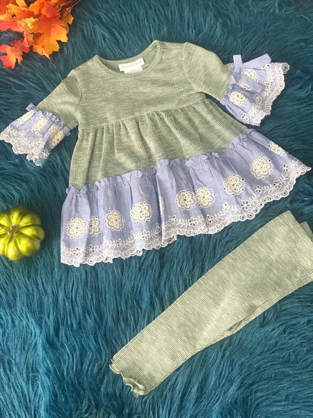 Bonnie Jean Green & Blue Two Piece Outfit