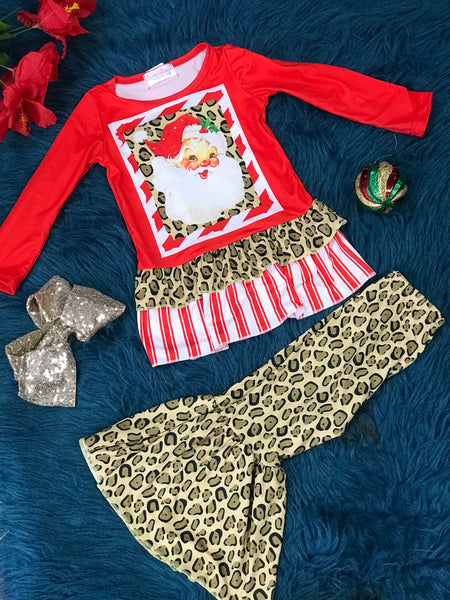 New Christmas Girls Cheetah Santa Face Ruffle Pant Set C - JEN'S KIDS BOUTIQUE