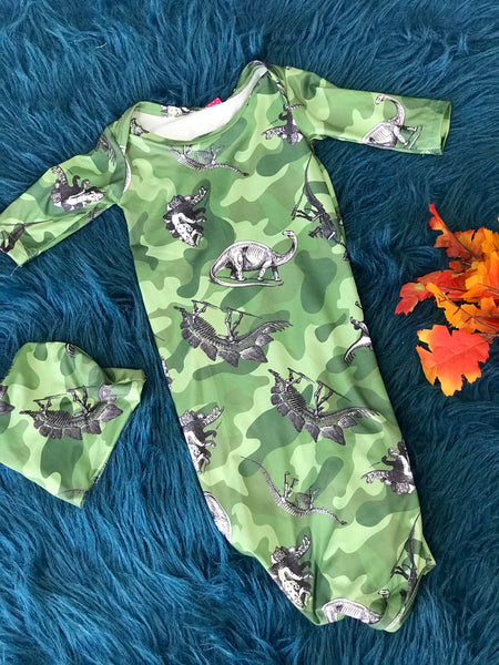 Camouflage Dinosaur Gown w/ Hat One Size - JEN'S KIDS BOUTIQUE