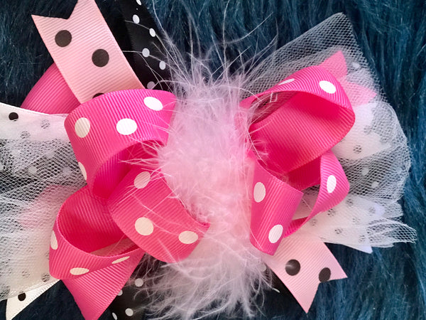 Beautiful Polka Dot Hot Pink Multi Feather Hair Bow - JEN'S KIDS BOUTIQUE