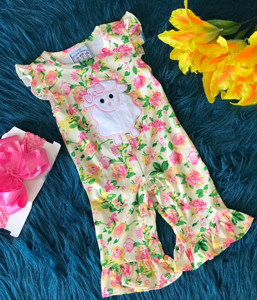 Summer Three Sisters Little Lamb Romper - JEN'S KIDS BOUTIQUE