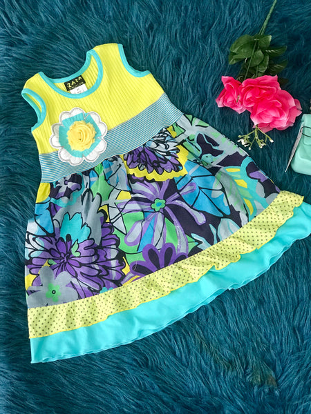 2019 ZaZa Couture Multi Blue & Yellow Flower Stripped Dress - JEN'S KIDS BOUTIQUE