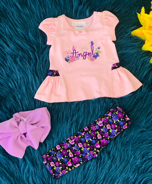 Spring & Summer Bonnie Angel Capri Set C - JEN'S KIDS BOUTIQUE