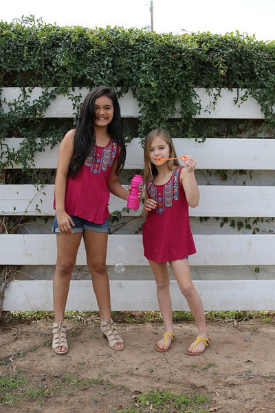 2019 Spring adorable Berry Tribal Sleeveless Shirt - JEN'S KIDS BOUTIQUE