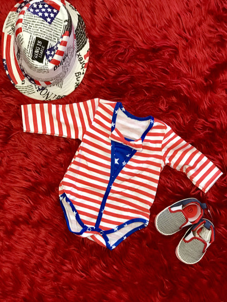 2018 Summer Boys Stripped Red 4th Of July Romper - JEN'S KIDS BOUTIQUE
