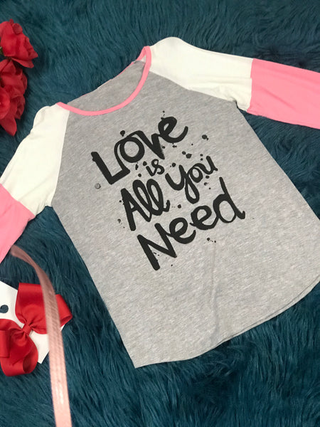Valentines Love Is All You Need Long Sleeve Shirt V - JEN'S KIDS BOUTIQUE