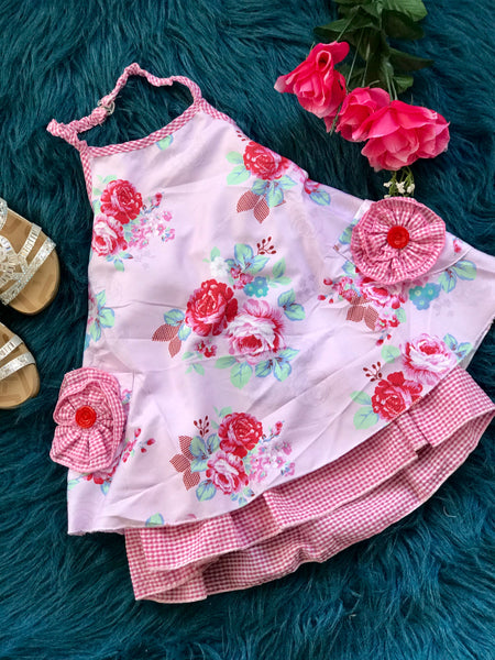 2019 Spring & Summer Girly Bird By Mack Co Red & Pink Passion Flower Apron Halter Dress With Pockets - JEN'S KIDS BOUTIQUE