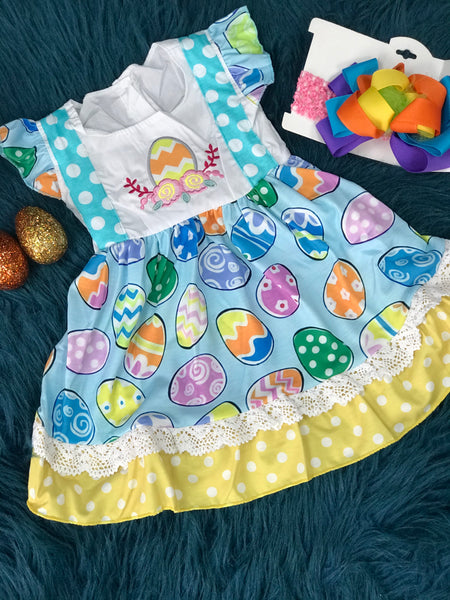 Easter Egg Fun Embroided & Ruffle Dress - JEN'S KIDS BOUTIQUE