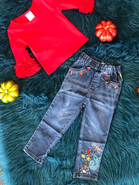 Fall Firefly Girls Denim Jeans - JEN'S KIDS BOUTIQUE