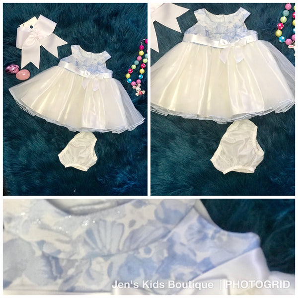 Spring Blue & White Lace Fancy Infant Dress - JEN'S KIDS BOUTIQUE