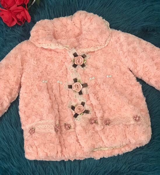 Kids Peachy Pink Fur Jacket w/ Flowers & Pearls - JEN'S KIDS BOUTIQUE