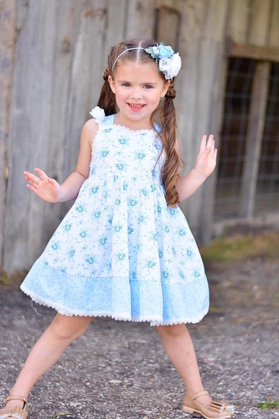 Summer Fun Sweet Blue Rose Summer Dress - JEN'S KIDS BOUTIQUE