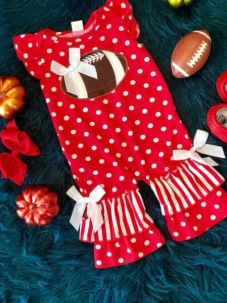 Fall Game Day Red Polka Dot Football Infant Romper - JEN'S KIDS BOUTIQUE