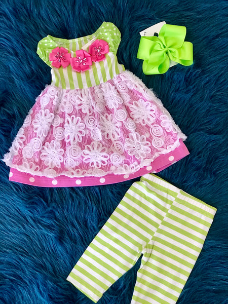 Molly & Millie Summer Green/Stripped Flower Capri  C - JEN'S KIDS BOUTIQUE