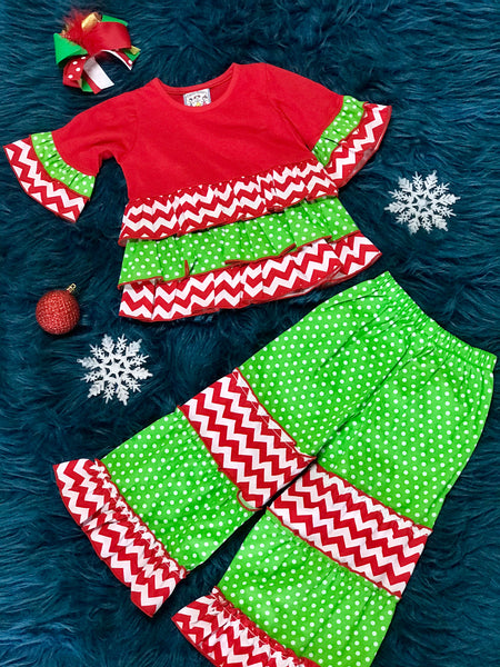 Three Sisters Christmas Chevron Red & Green Pant Set With Cute Pockets On The Back CH - JEN'S KIDS BOUTIQUE