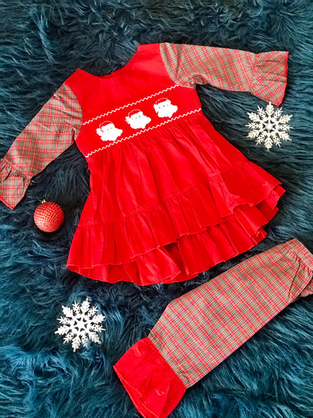 2018 Christmas Santa & Plaid Smocked Pant Set