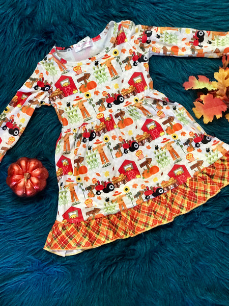 New Fall Farm Long Sleeve Dress - JEN'S KIDS BOUTIQUE