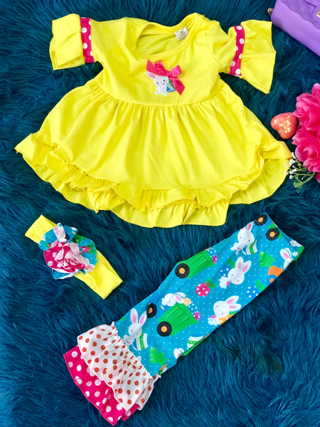 2019 Yellow & Hot Pink & Bunny Easter Pant Set - JEN'S KIDS BOUTIQUE
