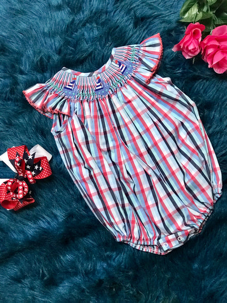 True Red & White And Blue Sail Boat Spring & Summer Infant Bubble CL - JEN'S KIDS BOUTIQUE